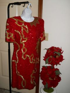 Lawrence Kazar M Red & Gold Sequin Beaded Silk Pageant Vintage Dress