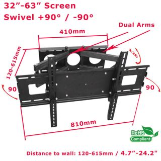 60 inch Swivel Articulating Plasma LCD LED TV Wall Mount 37 40 42 47