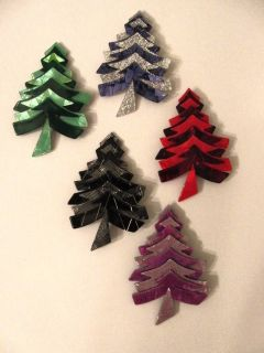 Lea Stein Signed Christmas Tree Pins