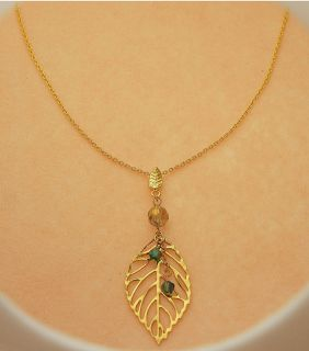 Gold Leaf Swarovski Crystal Necklace Handcrafted