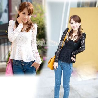 Fashion Slim Long Sleeve Lace Casual Blouse Top Black White