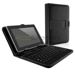 Black Leather Keyboard Case Cover Pouch For Asus Google Nexus 7 with