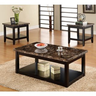 Lawndale 3 Piece Faux Marble Table Top Coffee Table Set