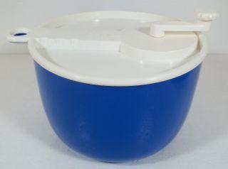 BLUE AND WHITE SALAD SPINNER W BOX SAM LEBOWITZ DESIGN 604 USA UNUSED