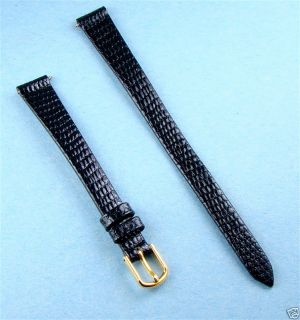 11 mm Long Black Lizard Grain Leather Watch Band Strap