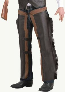 Cowboy Adult Faux Leather Western Costume Chaps Lone Ranger Brown