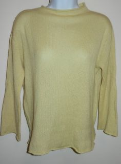 100% CASHMERE MARGARET OLEARY LIGHT YELLOW CREWNECK SWEATER MADE IN