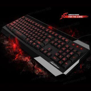 New Multi Media Illuminated Red LED Backlit Light Up Keyboard USB 2 0
