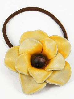 Leather Rose Flower Ponytail Holder Hair Tie Bow CHB2 L Yellow