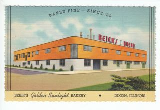 Beiers Bread Bakery Dixon Illinois IL Old Postcard Lee County Vintage