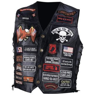 Leather Biker Motorcycle Vest w 42 Patches USA New