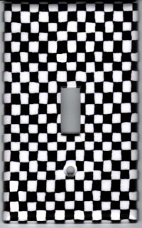 Black and White Checkered Light Switch Plate Cover