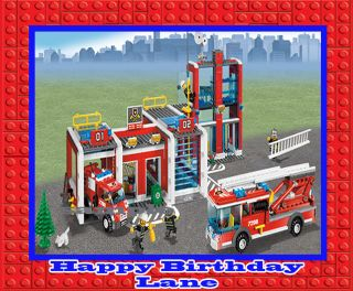 Fire Station City Lego Birthday Party Cake Topper Cupcakedecoration
