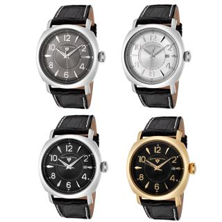Swiss Legend Mens Executive Watch Black Leather Strap Contrast