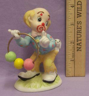 Vintage Lefton 1984 Hand Painted Clown Figurine Jump Through Hoop