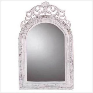 Wall Mirror Wood Framed Chateau Style 20 Tall Weathered White Finish