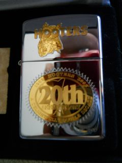 Hooters 20th Anniversary Gold Highlights Zippo Lighter RARE Limited