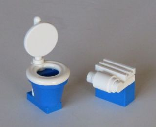 New Custom Blue Lego Toilet with Brick TP Dispenser for Minifig City