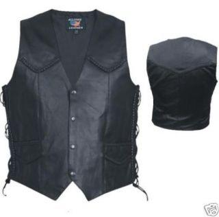 Mens Black Split Cowhide Leather Motorcycle Vest