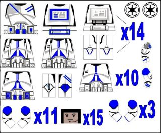 Lego Star Wars 501st Troopers Clone Minifig Decals EP 3