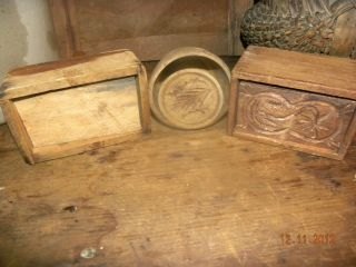 Lot 3 old vintage antique wood wooden butter molds mold design round