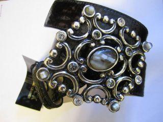 Leatherock belt 36 L w swarovski crystals Black Italian snake printed