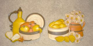 Vintage Home Interiors/Homco LEMONS & FLOWERS RETRO KITCHEN PICTURE