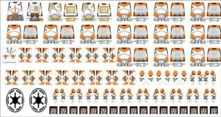 Lego Star Wars 212th Troopers Clone Minifigure Decals Episode 3 Orange