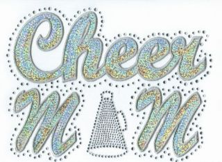 Iron On Transfer Applique Rhinestone and Silver Sequin Cheer Mom