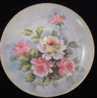 Lefton China Hand Painted Plate SL 2816 Flowers Blue Pink Gold Rim 8