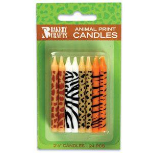 PRINT Giraffe Zebra Leopard Tiger 24 BIRTHDAY Party CAKE Candles