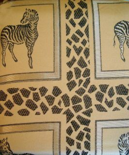 Gold Full Bodied Zebra Leopard Jacquard Shower Curtain Tassel Valance