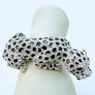 Huge Animal Leopard Bracelet Bangle Swarovski Crystal