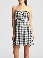 Guess $98 Les Plad Babydoll Silky Sheer Ruffle Black White Dress M 6 7