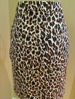 Crew Cotton Pencil Skirt Leopard Animal Print $85