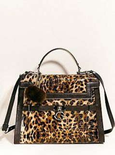 GUESS Covent Garden Satchel Purse Handbag Animal Leopard Print Brown