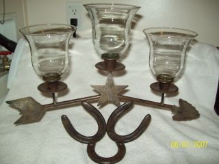 Western Home Interior 3 Tier Votive Candle Rack on A Horse Shoe Base