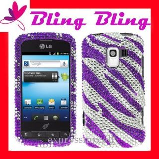 Premium BLING PURPLE ZEBRA Case Cover Straight Talk NET 10 LG OPTIMUS