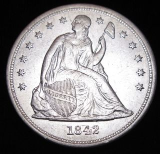 1842 Seated Liberty Silver Dollar Almost Uncirculated