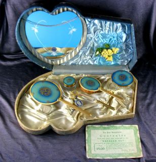 Vintage PERELINE TRAVEL VANITY DRESSER SET 22K GOLD Plated BLUE