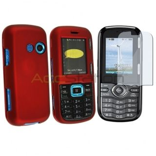 For LG Cosmos VN250 Red Hard Rubber Skin Cover Case Clear LCD Screen