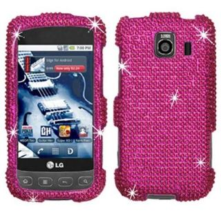 HOT PINK BLING DIAMOND CASE COVER FOR LG OPTIMUS S 670 U FACEPLATE