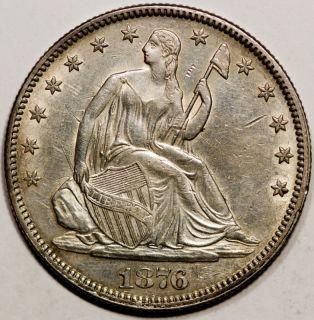 1876 50c Silver Liberty Seated Half Dollar AU UNC MPD