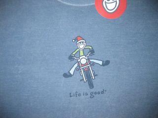 LIFE IS GOOD Jake Santa Motorcycle Harley Bike Mens LS T Shirt NWT M