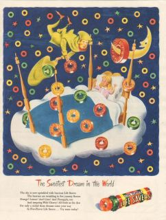 1940s vintage LIFE SAVERS Candy SWEET DREAM Moon SLEEP POEM Girls Bed