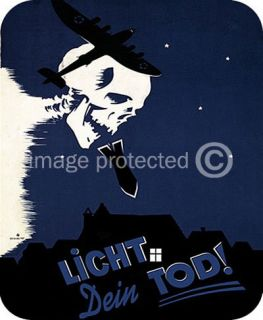 Vintage WW2 German Licht Dein Tod Military Mouse Pad