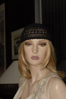 Lims Vintage Hand Crochet Hat or Cap Black Cotton