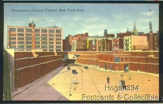 Lincoln Tunnel New York City Entrance Postcard 1952