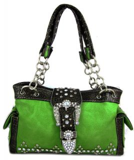 Belt Buckle Stud Chain Strap Purse Handbag Lime Green