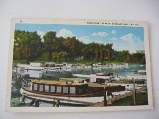 Postcard Motor Boat Harbor Lincoln Park Chicago Illinois